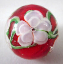 "22mm CHRYSANTHEMUM flower Handmade art glass red/pink Marble ball 7/8"" SHOOTER"