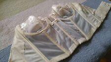 PreOwned Lady Marlene 34C bustier corset Beige Ivory Eyelet under wire & boning