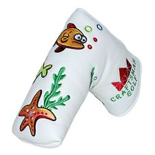 Craftsman Golf Oceam World Fish Crab Seaweed White Blade Headcover Putter Cover