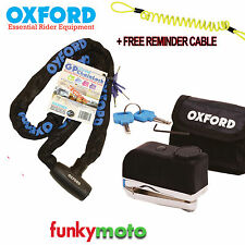 OXFORD GP CHAINLOCK & SCREAMER ALARM DISK LOCK MOTORBIKE SCOOTER SECURITY PACK