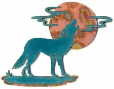 "COPPERCUTTS Wolf with Moon & Clouds Plaque 6.5"" x 8.5"" SouthWest Rustic Copper"