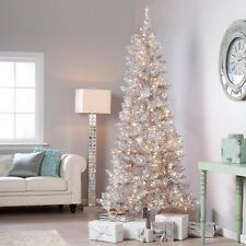 7' Retro Silver Vintage Style Tree Pre Lit Clear Christmas Tree New