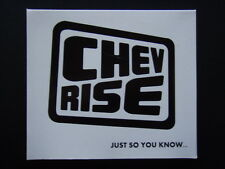 CHEV RISE - JUST SO YOU KNOW... 2010 GATEFOLD CARD SLEEVE CD