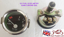 VINTAGE GEEP CAR 2'' 52mm Universal Car 12V Fuel Level Gauge Meter -M619 CHROME