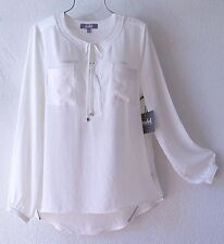 NEW~MARLED~Ivory White Silky Tonal Bead Peasant Blouse Shirt Top~16/18/14/XL