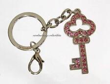 Keychain w. Pink Swarovski Crystals Jeweled Key Charm Silver Tone Argento SC NIB