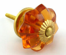 amber flower shaped cut glass  drawer & cupboard  door knobs brass fittings