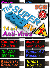 Unlimited Use AntiVirus Rescue 8gbUSB Boot Stick Scan Clean Remove Virus Malware