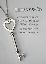 Tiffany & Co Sterling Silver 2 Inch Heart Large Key 20 Inch Necklace
