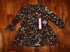 NWT Womens RAFAELLA Brown Leopard Print Tunic Roll Sleeve Blouse Sz L Large $65