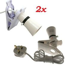 2x Clip On Switched Mains Powered Spot Light Bulb Holder Work Lamp 2m Cable