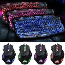 Gamer Gaming Tastatur Keyboard Beleuchtet PC-MULTI FARBEN USB Kabel+Gaming Maus