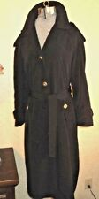 LADIES LONG TRENCH RAIN COAT BELTED SINGLE BREASTED EPAULETS BLACK 10 PETITE