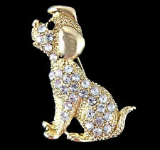 Venetti Gold colour Dog brooch with genuine clear crystal stones