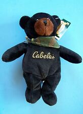 """9"""" CABELAS BURT BLACK BEAR w/ Camouflage Scarf and Paper & Tush Tag NEW"""