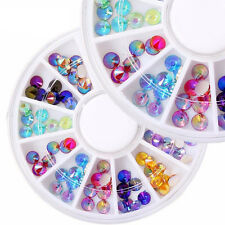 3D DIY Acrylic Nail Art Tips Decoration Glitter Rhinestones Gems Crystal Wheel