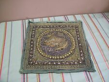 """Vintage Antique Kalaga Myanmar Burma Embroidery Tapestry Sequins Work 14"""" Square"""