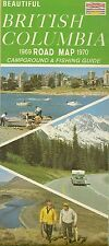 1969 BRITISH COLUMBIA Official Highway Road Map Canada Campground Fishing Guide