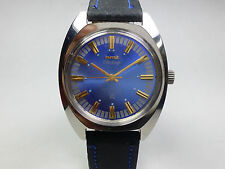 Vintage HMT Chirag Blue/Gold 17J Mechanical Hand-Wind Men's Wrist Watch