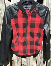Women's Medium red plaid flannel fully lined bomber jacket So Cute!!