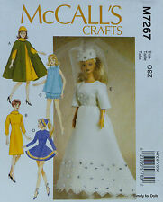 "McCall's 7267 DOLL CLOTHES Sewing PATTERN for 11-1/2"" BARBIE DOLLS in 5 Designs"