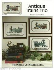 Antique Trains Trio Linda Bird Design Connection #085 Cross Stitch Pattern NEW