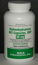 SDA Laboratories Diphenhydramine 50mg Capsules (Sleep Aid & Antihistamine)1000ct