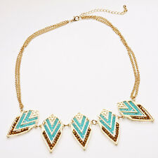 LUXURIOUS PARTY GOLD/TURQUOISE STATEMENT CHOKER DOUBLE CHAIN TRIBAL (CL18)