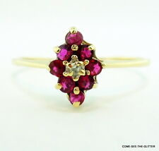 Classic Petite Ruby and Diamond Cluster 10kt Yellow Gold Estate Ring size 9 1/4