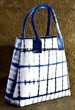 Indian Tie Dye Hand Made Women Shopping Shibori Blue Bag Tote Purse Shoulder Bag