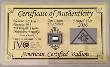 WORLD'S SMALLEST SILVER BAR 1 Grain .999 Pure Sealed Card Bullion with COA L006
