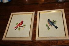 A pair of Vintage 1970s framed needlepoint pictures Cardinal Bird and Blue Jay