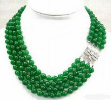 4 Rows Natural 8mm Green Jade White Gold Plated Clasp Necklace