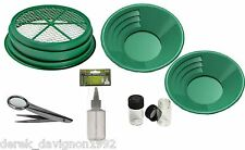"S1 7pc Green 1/2""  Large Gold Classifier Screen & Gold Pan Panning Kit"