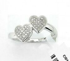 Great Value! 100% 10K White Gold MicroPave Diamond Dual Heart Fashion Ring