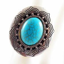 TURQUOISE RING fashion retro vintage pattern Finger Adjustable silver blue style