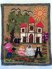 Beautiful Vintage Handmade Embroidered Wedding Scene Picture Mexico Burlap Gift