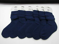 6 x PAIRS OF NAVY BLUE SLOUCH SOCKS 12.5-3.5 IN COTTON BLEND