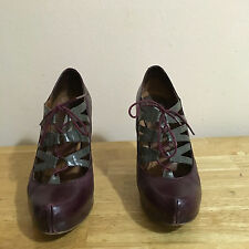 Ladies Steve Madden Purple/ Grey Leather Shoes Size 9