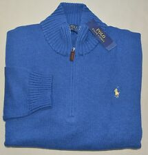 New 4XB 4XL BIG 4X POLO RALPH LAUREN Mens half zip Sweater Blue jumper XXXXL NWT