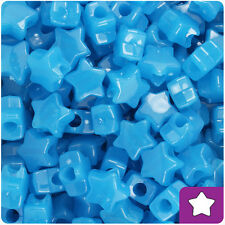 250 Blue Glow 13mm Star Pony Beads Plastic Made in the USA