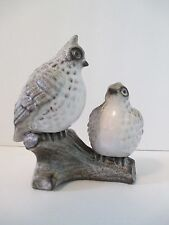 Vintage Quail on Log Ceramic Stone-Look Grey White Black Figurine