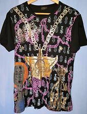 RARE Christian Audigier Forever T-Shirt - Gold Leaf Winged Medallion Graphic L