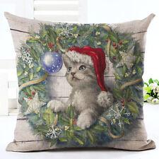 Christmas Dog Throw Pillow Case Linen Cushion Cover Xmas Home Decor Gift