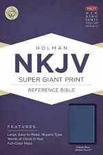 NKJV Super Giant Print Reference Bible, Cobalt Blue LeatherTouch (2015,...