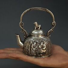 Silver Old Man Play Chess Dog Animal Wine Tea Pot Flagon Kettle