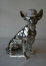 Argent art deco chihuahua bling statue figure ornement LP28031