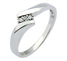 Women's 3 Stone Diamond F/SI1 GIA Spec Graded Engagement Ring 10k Solid Gold