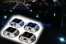BOAT DOCK DRIVEWAY SOLAR POWER BRIGHT LED LIGHT PATHWAY MARKER ALUMINUM