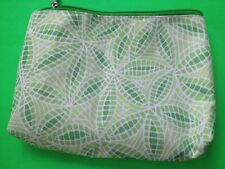 GREEN & WHITE CLINIQUE MAKEUP COSMETIC BAG CASE TRAVEL PURSE NEVER USED!